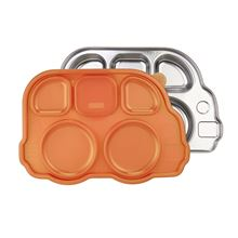 Picture of DIN DIN SMART™ STAINLESS DIVIDED PLATTER WITH SECTIONAL LID - ORANGE