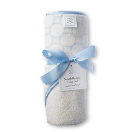 Picture of Organic Hooded Towel  Mod Circle on Ivory- Baby Blue