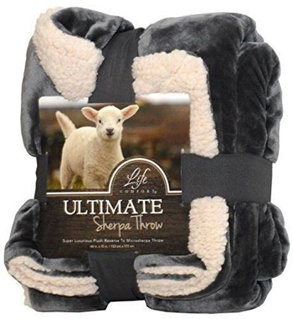 Picture of Life Comfort® Ultimate Sherpa Throw-  Gray