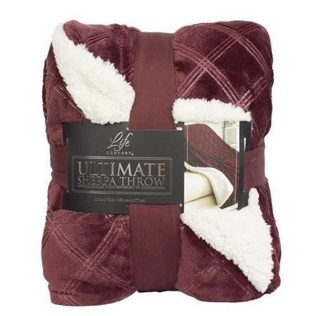 Picture of Life Comfort® Ultimate Sherpa Throw-  Red