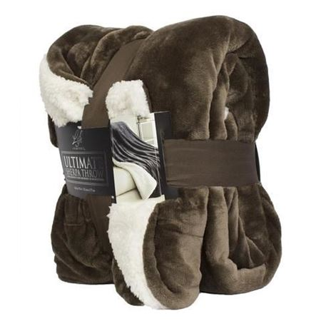 Picture of Life Comfort® Ultimate Sherpa Throw-  Brown