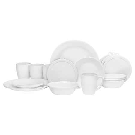 Picture of Corelle 20 pcs Livingware Dinnerware Set with Storage,Winter Frost White, Service for 4