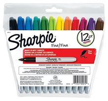 Picture of Sharpie Permanent Markers, Fine Point, Assorted Colors, Re-Sealable Pouch, 12-Count
