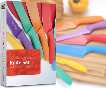 Picture of Utopia Kitchen Non-Stick Knife Set Color-Coded and Cutting Board