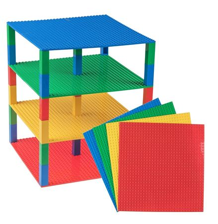 "Picture of Strictly Briks Stackable Base Plates - 4 Pack 10"" x 10"" Tower Construction(Premium Blue, Green, Red, and Yellow)"