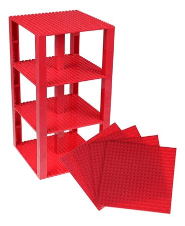 """Picture of Strictly Briks Stackable Base Plates - 4 Pack 6"""" x 6"""" Tower Construction(Dark Red)"""