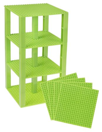 """Picture of Strictly Briks Stackable Base Plates - 4 Pack 6"""" x 6""""  Tower Construction(Green)"""