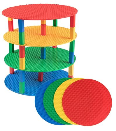 """Picture of Stricity Briks 12"""" Circle Stackable Base Plates - 4 Pack Baseplate Bundle with 40 2x2 New and Improved Stackers - Premium Blue, Green, Red, and Yellow"""
