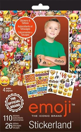Picture of Emoji Sticker + Tattoo Stickerland Pad - 4 pages