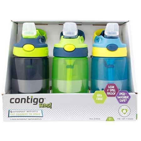 Picture of (Sold Out) Contigo Kid's Water Bottle with AUTOSPOUT, 3-pack (2 colors)